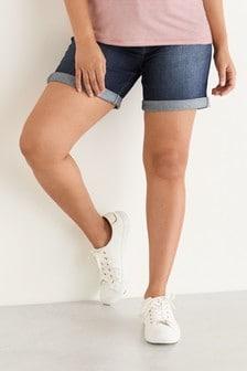 Dark Blue Maternity Denim Boy Shorts