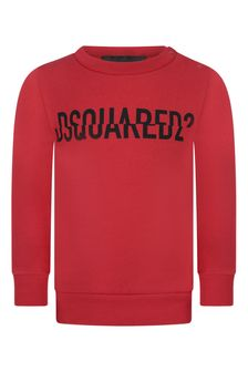 Baby Boys Red Cotton Logo Sweater