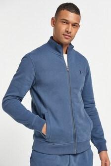 Blue Zip Through Funnel Neck Jersey