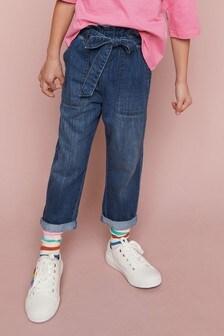 Mid Blue Paperbag Tie Waist Jeans (3-16yrs)