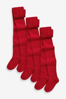 Red 3 Pack School Tights