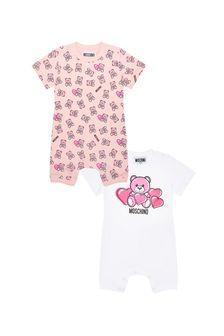 Baby Girls Pink Cotton Romper Gift Set