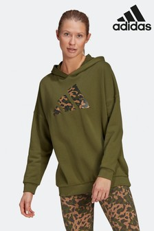 adidas Khaki Future Icons Oversized Pullover Hoodie
