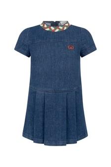 فستان دنيم أزرقبناتي