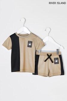 River Island Stone Dark Active Mesh T-Shirt Set