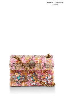 Kurt Geiger London Pink Combination Tweed Mini Kensington Bag