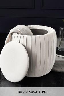 Opulent Velvet Light Grey Priya Storage Stool