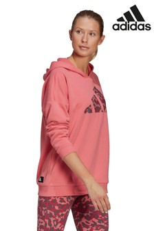 adidas Pink Future Icons Oversized Pullover Hoodie