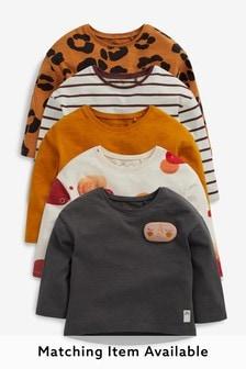 Charcoal Prints 5 Pack Long Sleeve T-Shirts (3mths-7yrs)
