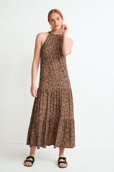 Brown Animal Halterneck Dress