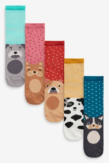 Multi Dog Detail Ankle Socks Five Pack