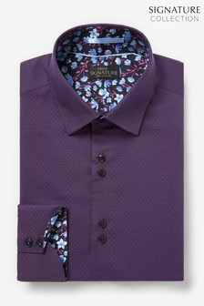Purple Slim Fit Single Cuff Signature Trimmed Shirt