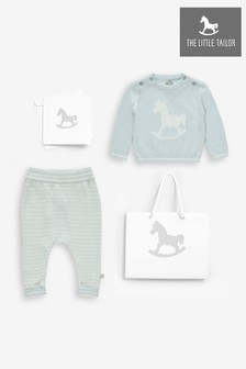 The Little Tailor Blue Rocking Horse Jumper And Knitted Pants Set - Blue/Grey
