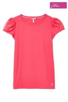 Joules Pink Fluttter Shoulder Design Top