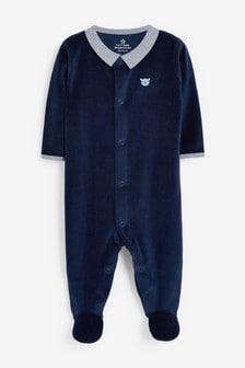 Navy Smart Velour Sleepsuit (0mths-2yrs)