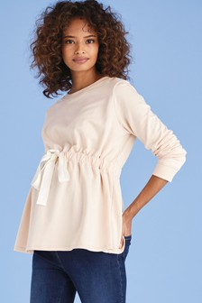 Blush Maternity Tie Front Sweat Top