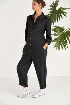 Black Maternity Denim Boilersuit