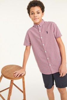Red/Navy/White Short Sleeve Gingham Oxford Shirt (3-16yrs)