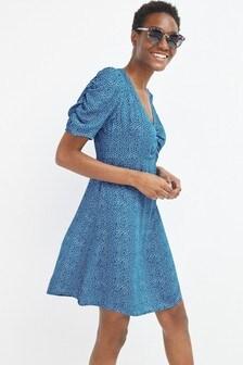 Blue Spot Ruched Mini Dress