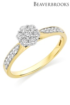 Beaverbrooks 18ct Gold Diamond Cluster Ring
