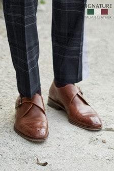 Tan Signature Italian Leather Toe Rose Monk Shoes