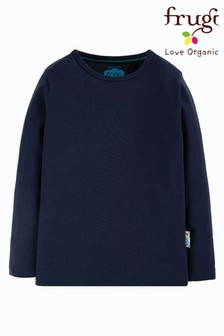 Frugi GOTS Organic Navy Long Sleeve Plain T-Shirt
