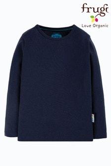 Frugi Organic Cotton Navy Long Sleeve Plain T-Shirt