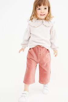 Pink Wide Leg Jersey Cord Trousers (3mths-7yrs)