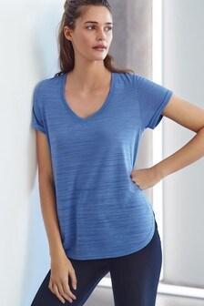Blue Short Sleeve V-Neck Sports Top