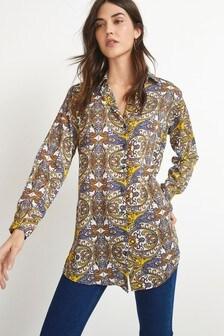 Paisley Print Long Line Shirt