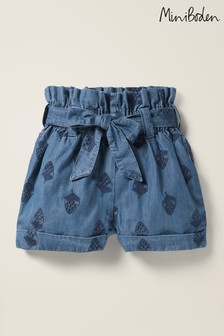 Boden Denim Textured Tie Waist Shorts