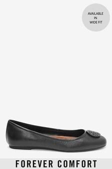 Black Hardware Leather Ballerina Shoes