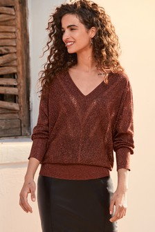 Copper V-Neck Sparkle Jumper