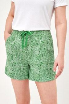 Green Palm Linen Blend Shorts