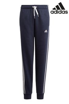 adidas Navy 3 Stripe Fleece Joggers