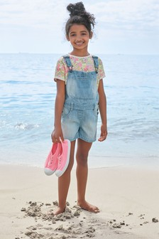 Light Blue Short Dungarees (3-16yrs)
