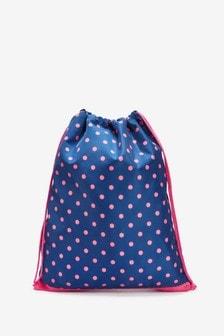 Navy Spot Drawstring Bag