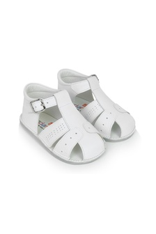 Andanines Baby Boys White Leather Sandals