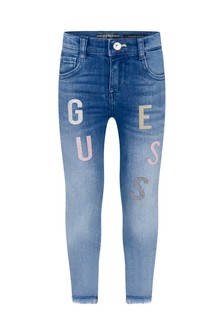 Girls Blue Denim Skinny Logo Jeans