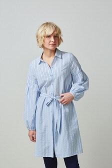 Blue/White Stripe Cotton Mini Shirt Dress
