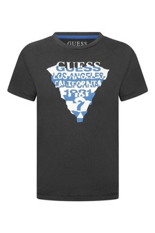 Boys Charcoal Cotton Jersey Logo T-Shirt