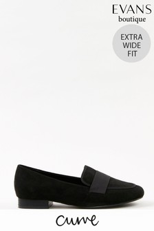 Evans Curve Extra Wide Fit Black Loafers