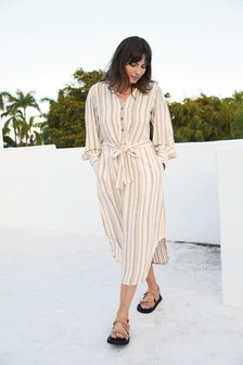 Neutral Stripe Shirt Dress