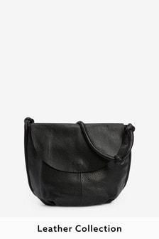 Black Leather Knot Strap Shoulder Bag