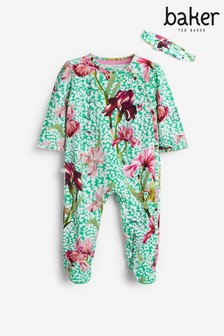 Baker by Ted Baker Green Floral Sleepsuit