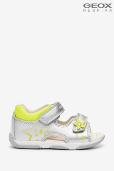 Geox Baby Girl's Tapuz Silver/Fluo Yellow Sandals