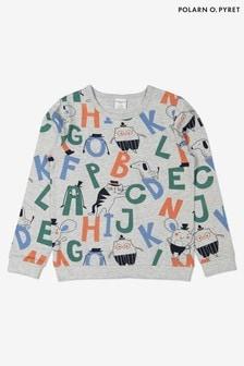 Polarn O. Pyret Grey Gots Organic Alphabet Top