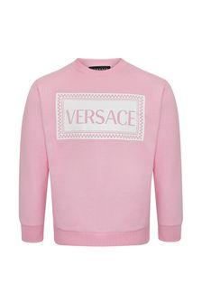 Girls Pink Cotton Sweatshirt