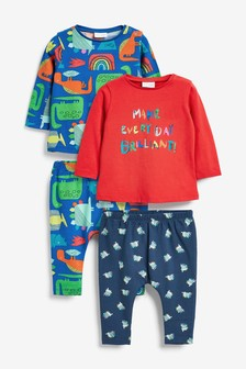Bright 4 Pack Character T-Shirt And Legging Set With Stretch (0mths-3yrs)