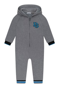 Baby Boys Grey Cotton Hooded Romper